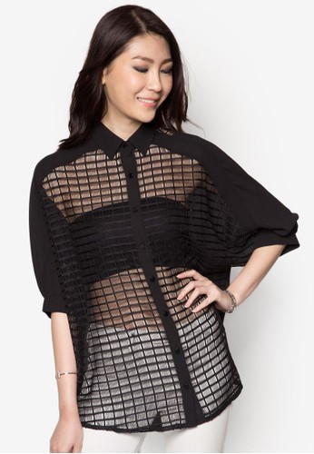 Grid Pattezalora開箱rn Shirt Dress, 服飾, 上衣