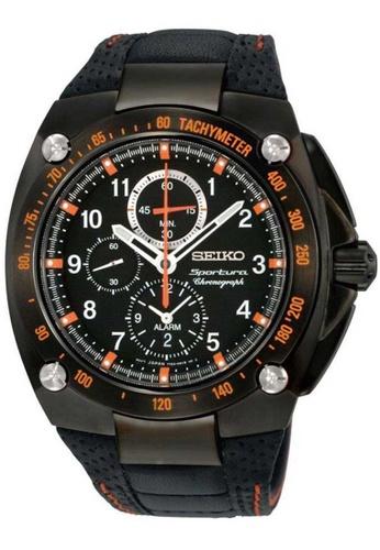 Seiko black Seiko Sportura Black Leather Watch DA124AC2ABCC97GS_1