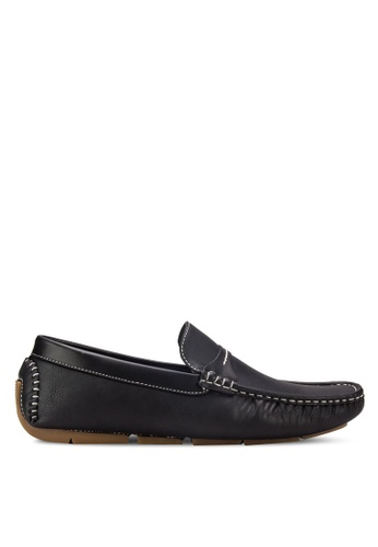 UniqTee black Moc-Toe Penny Loafers UN097SH30RFDMY_1