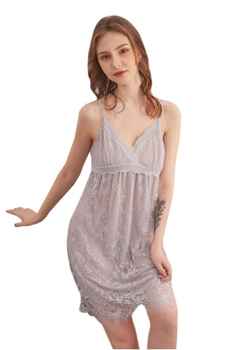 LYCKA grey LCB2104-Lady Sexy Chemise and Inner Lingerie Sets-Grey 04E80US4CA3122GS_1