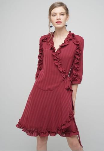 Megane red RED ROMANCE Amarante Ruffle Hem Wrap Dress 3CFD4AAB56CE69GS_1