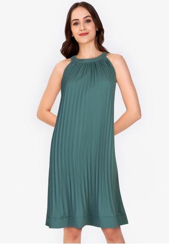 ZALORA WORK green Cut-In Pleated Dress 2242CAA0F16B0FGS_1
