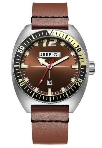 Jeep Spirit Mutifunction Men's Watch JPS50201 Brown Silver Brown Leather