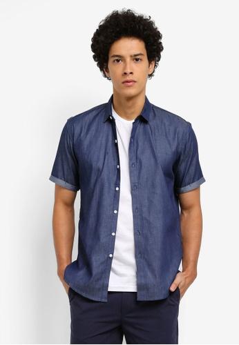 ZALORA navy Denim Turn Up Short Sleeve Shirt 13FCDAA8C23373GS_1