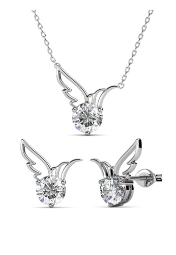 Her Jewellery silver Swarovski® Crystals - Wing Set (18K White Gold Plated) Her Jewellery HE581AC0R9UYMY_1