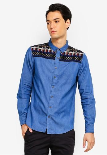 Brave Soul blue Denim Long Sleeve Shirt EB6A5AA2467259GS_1