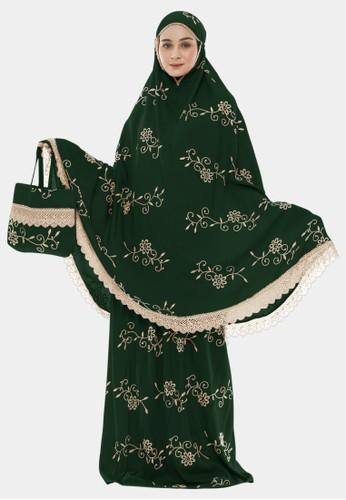 zelena green Mukena Dewasa Prayer Set Tarwiyyah Teratai - Dark Green 18610AA397B023GS_1