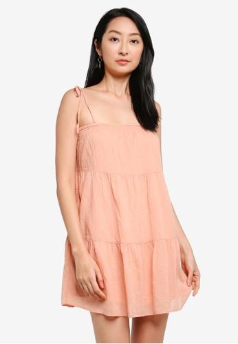 ABERCROMBIE & FITCH orange Tie Strap Trapeze Mini Dress AB0FAAA8BD2ECBGS_1