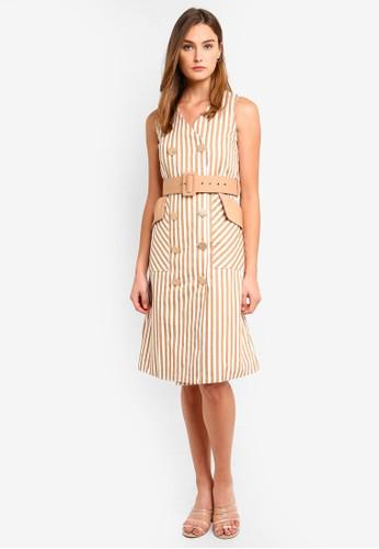Megane beige Best Frenz Donoma Button-Up Dress In Stripes 09440AA1F09271GS_1