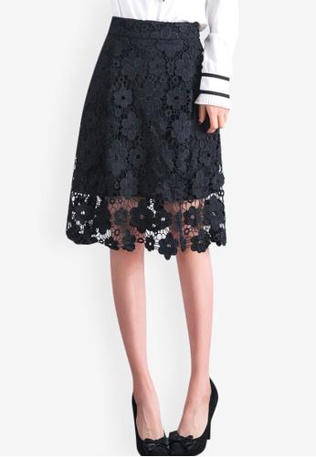 Sunnydaysweety black Temperament High Waist Hollow Lace Skirt  59509AA424149DGS 1 2279d4cd8ea