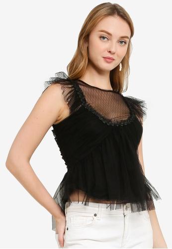 Max Studio black Knit Mesh Top 3E23AAA55A4CEFGS_1