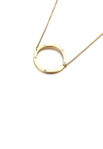 Glamorousky white Simple Personality Plated Gold English Alphabet O 316L Stainless Steel Pendant with Cubic Zirconia and Necklace BEE1FAC7E63582GS_1