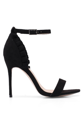Public Desire 黑色 荷葉飾細跟高跟鞋 9C874SHBB1F32DGS_1