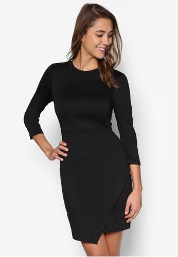 Sandra 七分袖裹飾裙擺連身裙, esprit tw服飾, 洋裝