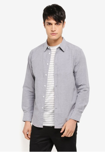 ZALORA black Chain Stitch Detail Long Sleeve Shirt 1217AAAE8368BFGS_1