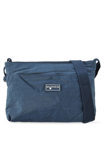 Bagstationz navy Crinkled Nylon Multi-Compartment Sling Bag 1F5CAAC0772C48GS_1