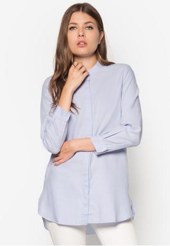 中式領寬版長袖襯衫, 服飾,mango 台灣門市 服飾