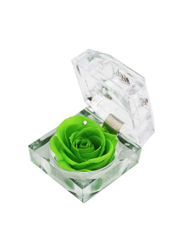 Her Jewellery green Everlasting Preserved Rose - Rose in Ring Box (August, Peridot) A9B68HLAA87599GS_1