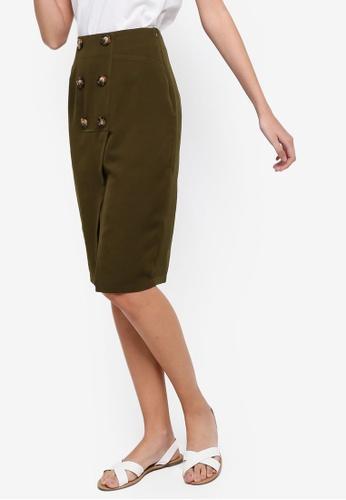 ZALORA green Button Front Pencil Skirt F2080AA2C5BDE5GS_1