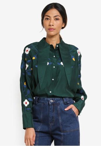 Haute Kelly green Eun-Byul Embroidered Shirt 0AA7DAA16638D7GS_1