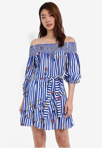 ZALORA blue Smocked Off The Shoulder Ruffle Skirt Dress 52714AA2A048F8GS_1