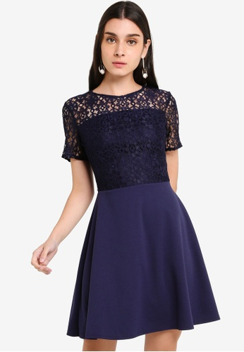 Navy Geo Lace Top Skater Dress