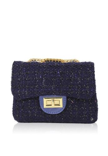 Dazz blue Tweed Quilted Crossbody Bag - Blue DA408AC0S4ALMY_1