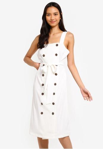 ZALORA 白色 Button Details Square Neck Dress BA741AAB58A543GS_1