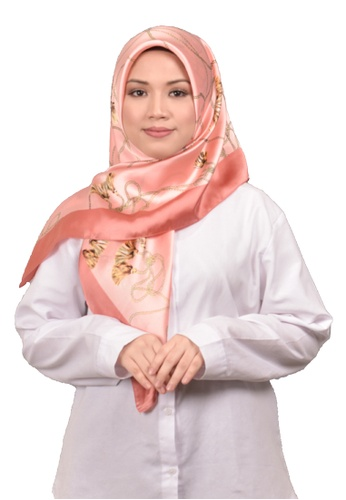 FATIMÉ orange and yellow Satin Square Hijab Tassle (Salmon) C0A51AA253AAD4GS_1