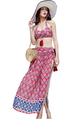 YG Fitness red (3PCS) National Wind Subby Bikini Swimsuit Set F0AC8US856262FGS_1