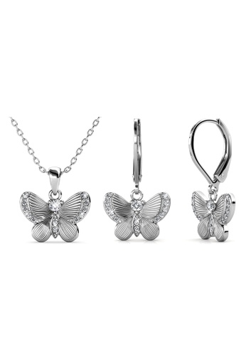 Her Jewellery Chrysalis Butterfly Set (White Gold) - Made with premium grade crystals from Austria A9367AC7B687B0GS_1