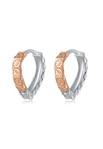 MaBelle red and silver 14K 585 Rose and White Gold Diamond Cut Open Heart Stud Earrings 38541ACBF8B53AGS_1