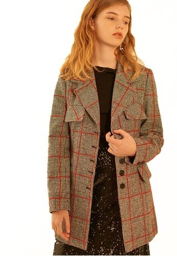 Salon de Yohn red Wool lapel Checkered Jacket SA458AA0GX50SG_1