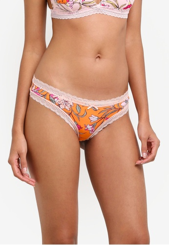 Cotton On Body orange Smooth Lace Trim Brasiliano Briefs CO561US0SA4EMY_1