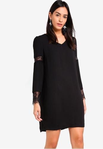 ZALORA black Lace Panel Long Sleeves Dress B74ADAAC5A31E7GS_1