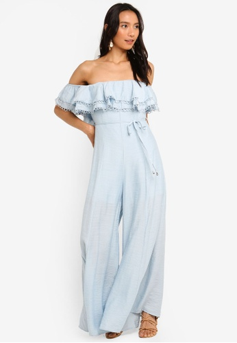 INDIKAH blue Off Shoulder Ruffle Jumpsuit With Waist Tie 93A54AA1AAEF78GS_1