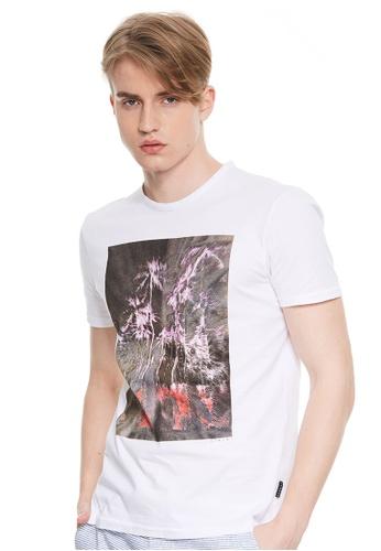 Sisley white Printed T-shirt 50D33AAC1A77DCGS_1