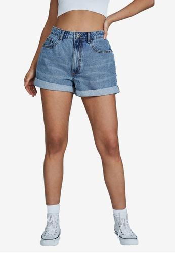 Cotton On blue Original Mom Denim Shorts 5CD5FAA9F1E963GS_1