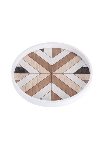 Propstation Geometric Pattern Round Wooden Decorative Serving Tray 30cm C7E32HL77B00CAGS_1