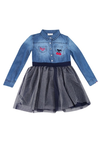 best wholesaler purchase authentic latest Denim Tulle Shirt Dress