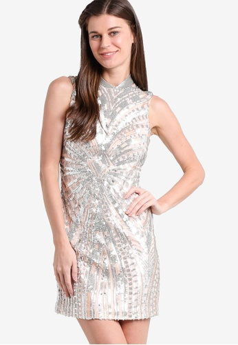 Miss Selfridge multi Premium Silver Sequin Chinoiserie Dress MI665AA90SMJMY_1
