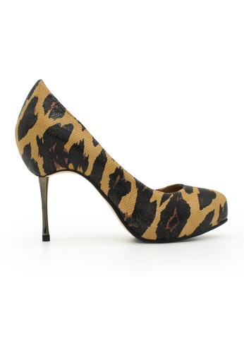 Gripz brown Camo Print Round Toe Stiletto Heels GR357SH0FJUPSG_1