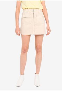 f0bddb47b5 Miss Selfridge beige Zip Front Denim Skirt F41C2AA58AAA11GS_1