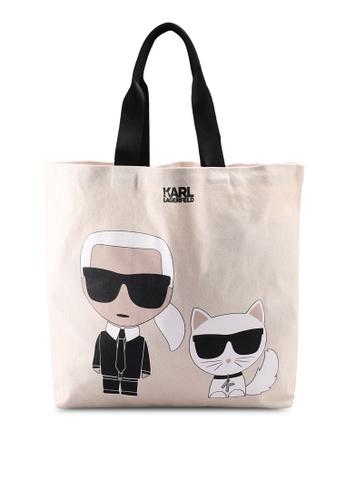KARL LAGERFELD white K/Ikonik Canvas Shopper Bag KA533AC0SDA7MY_1