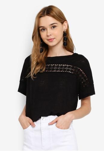Vero Moda 黑色 刺繡拼接上衣 2BA75AA5261B07GS_1