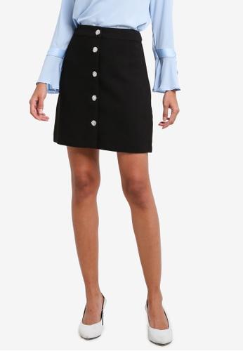 WAREHOUSE black Diamante Button Skirt WA653AA0RXB9MY_1