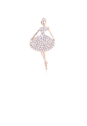 Glamorousky white Fashion and Elegant Plated Gold Ballerina Brooch with Cubic Zirconia E9D48AC81AB2B8GS_1