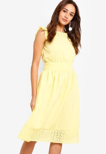 ZALORA yellow Sleeveless Embroidered Dress 19912AA3499A57GS_1