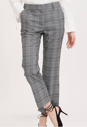 H:CONNECT black Houndstooth Print Pants 59424AA1BB4986GS_1