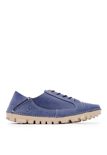Life8 blue Casual Lightweight Sneakers In Brown Leather-Blue-09730 C4010SH8572BD2GS_1